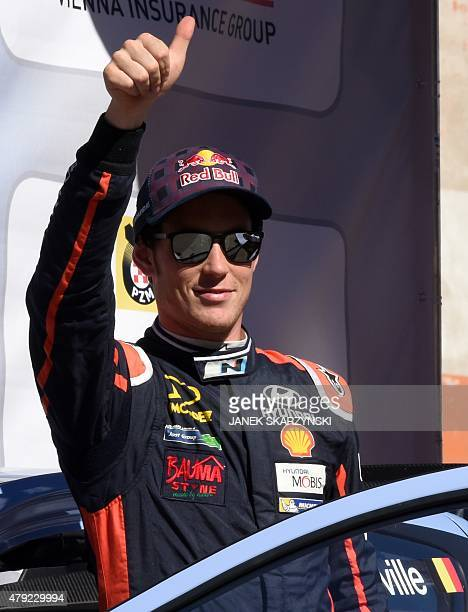 Belgium driver Thierry Neuville attends the official start of Lotos Rally Poland on July 2 2015 at the main square in Mikolajki north of Poland AFP...