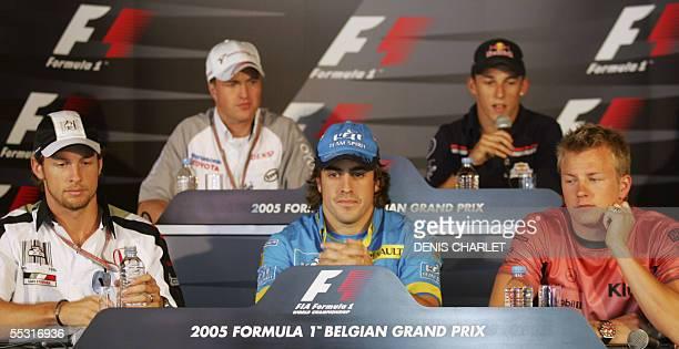 Belgium: English BAR-Honda driver Jenson Button, Renault Spanish driver Fernando Alonso, McLaren-Mercedes Finnish driver Kimi Raikkonen, Toyota...