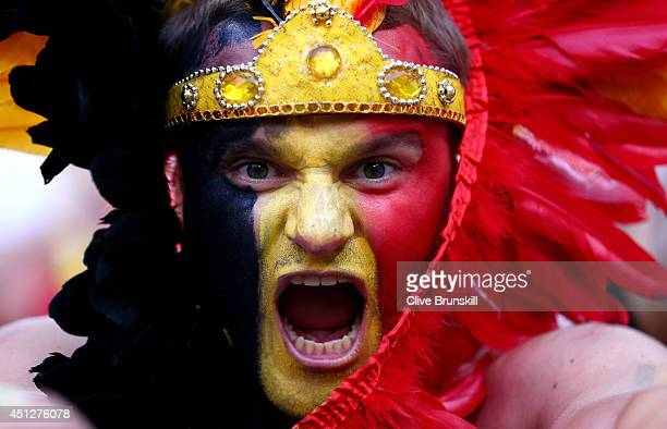 Belgium fan cheers during the 2014 FIFA World Cup Brazil Group H match between South Korea and Belgium at Arena de Sao Paulo on June 26 2014 in Sao...