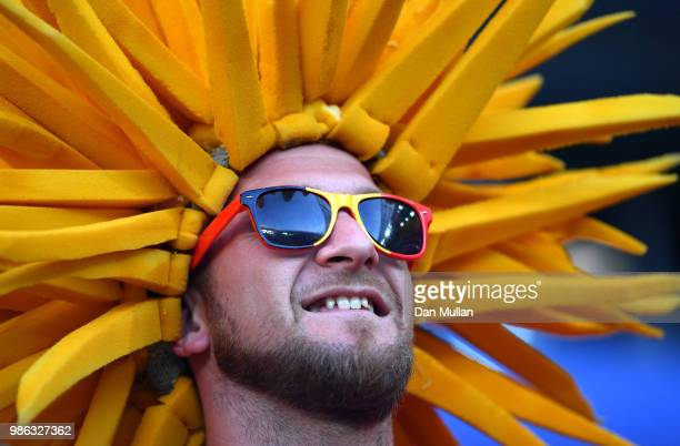 Belgium fan enjoys the pre match atmosphere prior to the 2018 FIFA World Cup Russia group G match between England and Belgium at Kaliningrad Stadium...