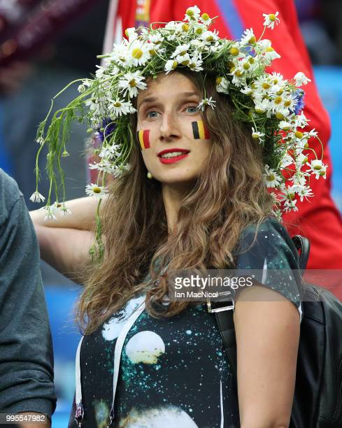 Belgium fan is seen during the 2018 FIFA World Cup Russia Semi Final match between Belgium and France at Saint Petersburg Stadium on July 10 2018 in...
