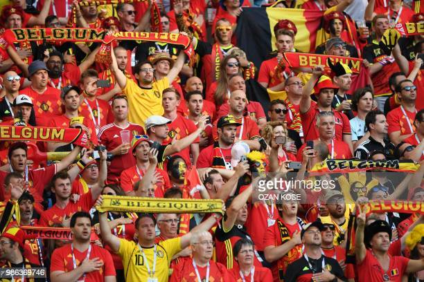 Belgium fans cheer before the Russia 2018 World Cup Group G football match between England and Belgium at the Kaliningrad Stadium in Kaliningrad on...