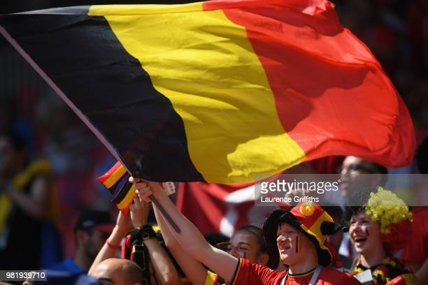 Belgium fans enjoy the pre match atmosphere during the 2018 FIFA World Cup Russia group G match between Belgium and Tunisia at Spartak Stadium on...