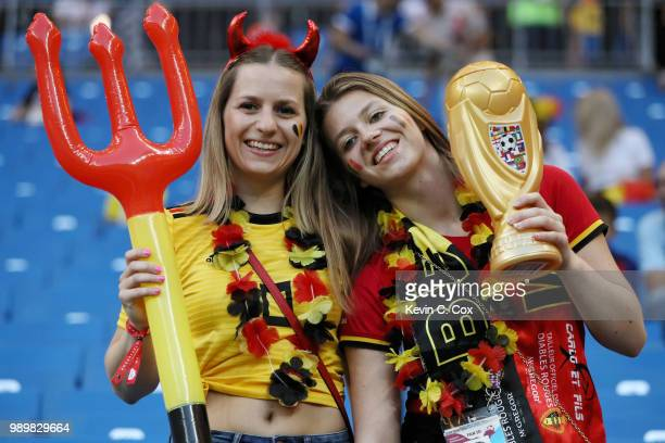 Belgium fans enjoy the pre match atmosphere prior to the 2018 FIFA World Cup Russia Round of 16 match between Belgium and Japan at Rostov Arena on...