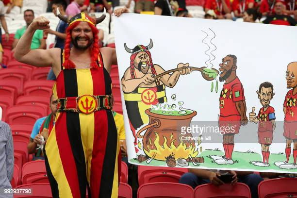 Belgium fans enjoy the pre match atmosphere prior to the 2018 FIFA World Cup Russia Quarter Final match between Brazil and Belgium at Kazan Arena on...