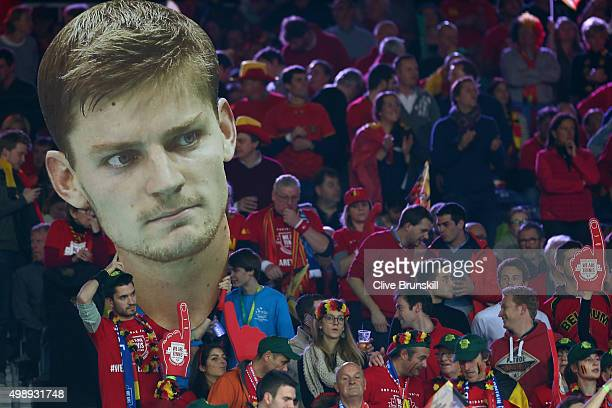 Belgium fans hold up a giant cutout of David Goffin of Belgium during the singles match between David Goffin of Belgium and Kyle Edmund of Great...