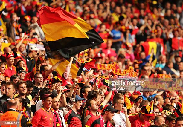 Belgium fans prior to the international friendly match between England and Belgium at Wembley Stadium on June 2 2012 in London England
