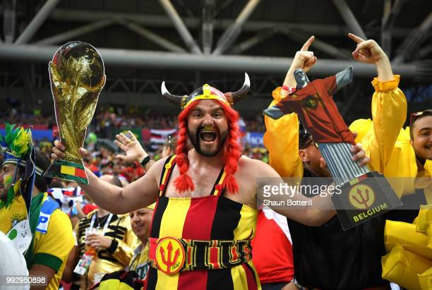 Belgium fans show their support during the 2018 FIFA World Cup Russia Quarter Final match between Brazil and Belgium at Kazan Arena on July 6 2018 in...