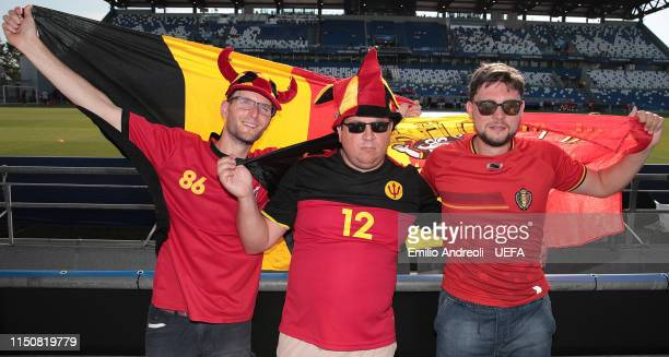 Belgium fans show their support during the 2019 UEFA U21 Group A match between Spain and Belgium at Stadio Citta del Tricolore on June 19 2019 in...