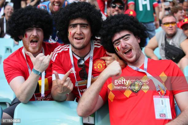 Belgium fans wearing Fellaini wigs look on prior to the 2018 FIFA World Cup Russia group G match between Belgium and Panama at Fisht Stadium on June...
