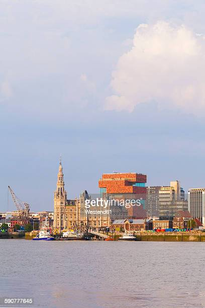 Belgium, Flanders, Antwerp, Cityview with Museum aan de Stroom, Scheidt river