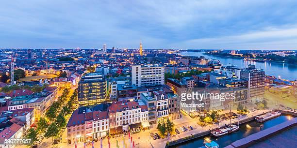 Belgium, Flanders, Antwerp, Cityview with Scheldt river in the evening
