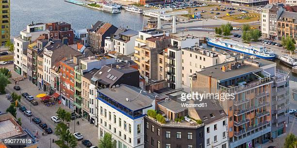 Belgium, Flanders, Antwerp, View to Eilandje, houses at former dock land