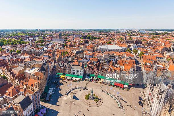 belgium, flanders, bruges, city view and grote markt - bruges stock pictures, royalty-free photos & images