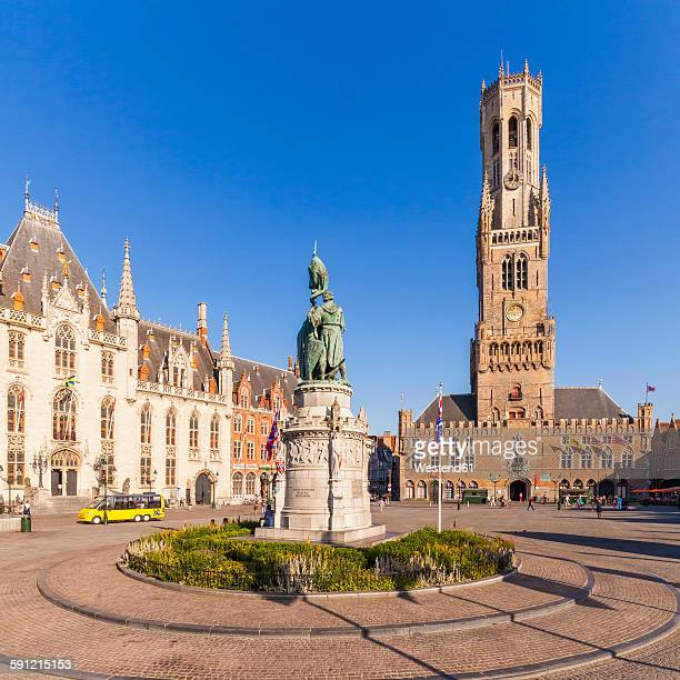 Belgium, Flanders, Bruges, Grote Markt, Provinciaal Hof, Jan-Breydel-Monument and Belfry