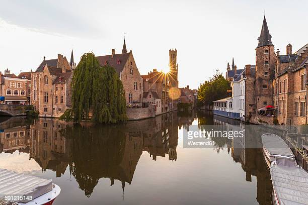 Belgium, Flanders, Bruges, Old town, Rozenhoedkaai, Canal and Belfry Tower