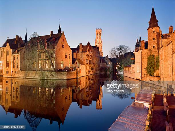 Belgium, Flanders, Bruges, reflections of buildings in canal