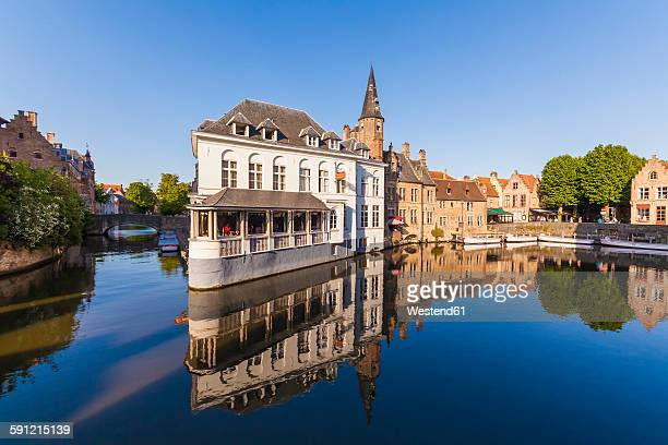 belgium, flanders, bruges, rozenhoedkaai, town canal - bruges stock pictures, royalty-free photos & images