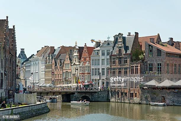 Belgium, Flanders, Ghent, Bridge and houses, Leie river