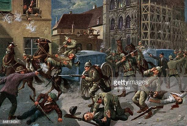 Belgium Flanders Leuven Great War postcards Propagandistic illustration of the Belgian franctireurs' attack on passing German soldiers in Leuven on...