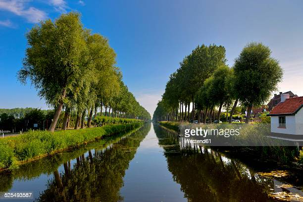 belgium, flanders, west flanders, canal at damme - damme stock pictures, royalty-free photos & images
