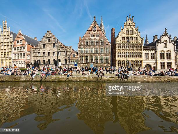 belgium, ghent, old town, graslei, historical guild houses at river leie - ベルギー ゲント ストックフォトと画像