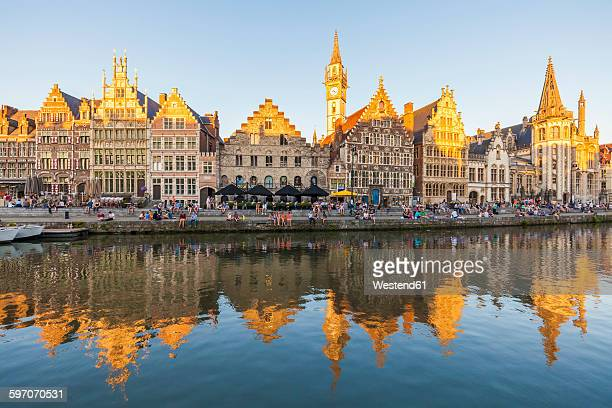 belgium, ghent, old town, graslei, historical houses at river leie - flandres oriental imagens e fotografias de stock