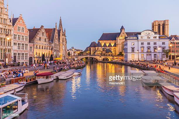 Belgium, Ghent, old town, Korenlei and Graslei, historical houses at River Leie at dusk