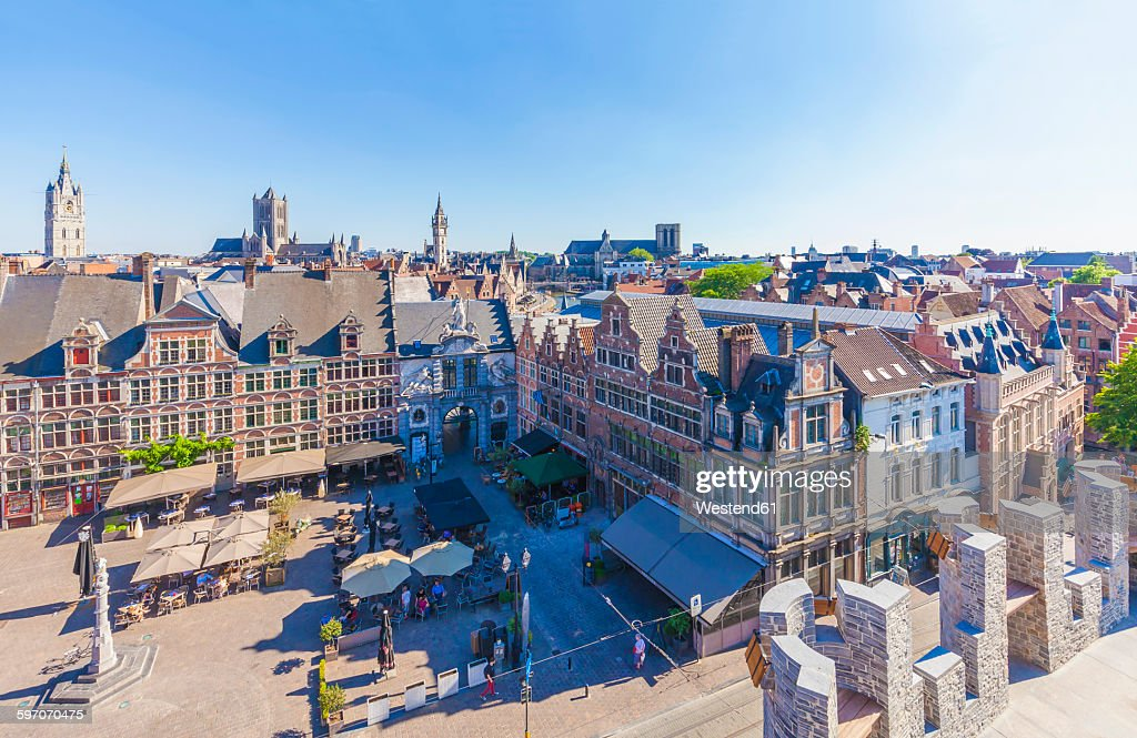 Belgium, Ghent, old town, Sint-Veerleplein square : ストックフォト