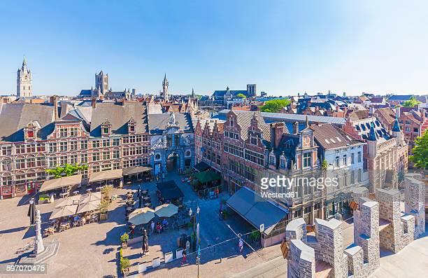 belgium, ghent, old town, sint-veerleplein square - ベルギー ゲント ストックフォトと画像
