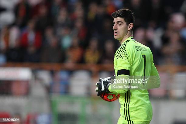 Belgium goalkeeper Courtois during the match between Portugal and Belgium Friendly International at Estadio Municipal de Leiria on March 29 2016 in...
