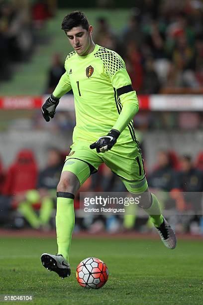 Belgium goalkeeper Courtois during the match between Portugal and Belgium Friendly International at Estadio Municipal de Leiria on March 29 2016 in...