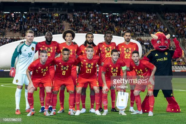 Belgium goalkeeper Simon Mignolet Romelu Lukaku of Belgium Axel Witsel of Belgium Jason Denayer of Belgium Dedryck Boyata of Belgium Nacer Chadli of...