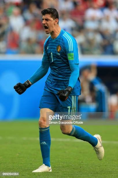 Belgium goalkeeper Thibaut Courtois celebrates their 2nd goal during the 2018 FIFA World Cup Russia 3rd Place Playoff match between Belgium and...