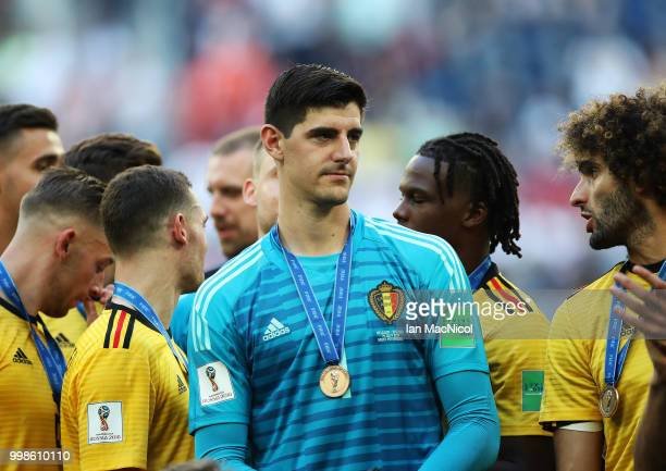 Belgium goalkeeper Thibaut Courtois is seen during the 2018 FIFA World Cup Russia 3rd Place Playoff match between Belgium and England at Saint...