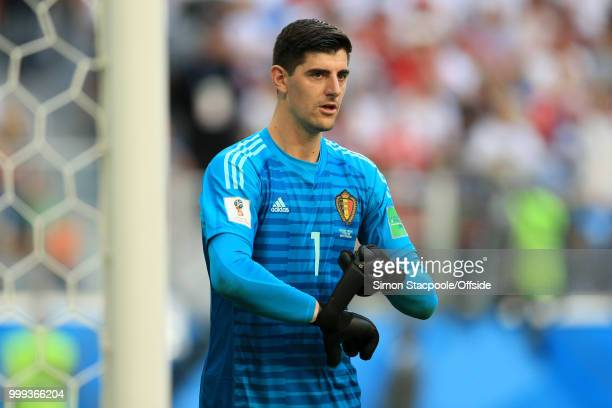 Belgium goalkeeper Thibaut Courtois straps up his gloves during the 2018 FIFA World Cup Russia 3rd Place Playoff match between Belgium and England at...