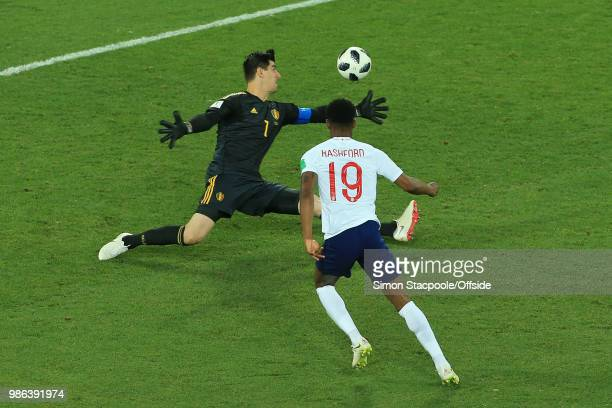 Belgium goalkeeper Thibaut Courtois stretches to save the shot of Marcus Rashford of England during the 2018 FIFA World Cup Russia Group G match...
