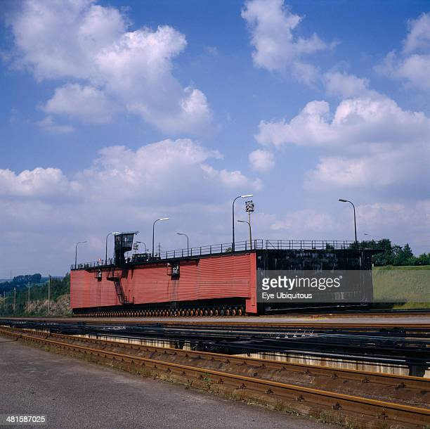 Belgium Hainaut Ronquieres Inclined plane barge lift on Brussels to Charleroi Canal 13000 ton barges moved within moving steel container filled with...