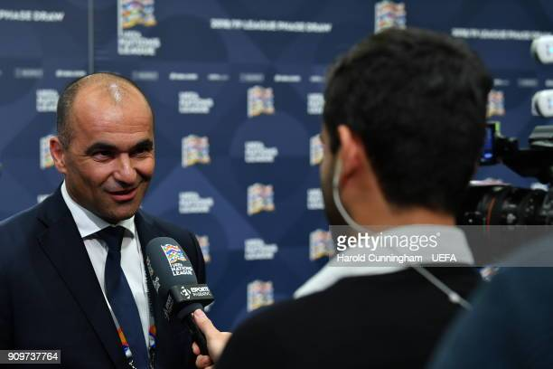 Belgium head coach Roberto Martinez is interviewed following the UEFA Nations League Draw on January 24 2018 in Lausanne Switzerland