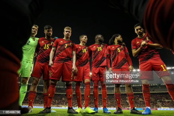 Belgium in a team huddle before the UEFA Euro 2020 Qualifier between Belgium and Cyprus on November 19, 2019 in Brussels, Belgium.