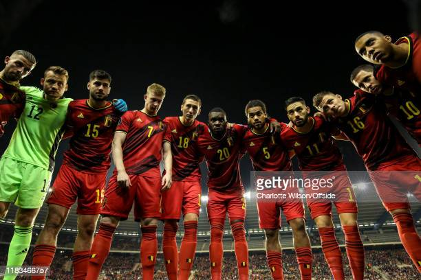 Belgium in a team huddle before the UEFA Euro 2020 Qualifier between Belgium and Cyprus on November 19 2019 in Brussels Belgium