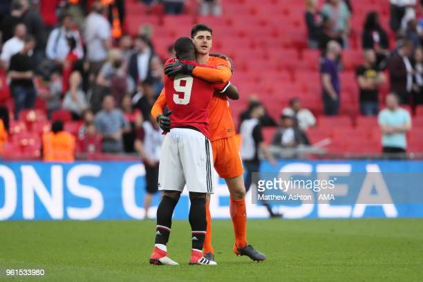 Belgium Internationals Romelu Lukaku Manchester Untied and Chelsea goalkeeper Thibaut Courtois during the FA Cup Final between Chelsea and Manchester...