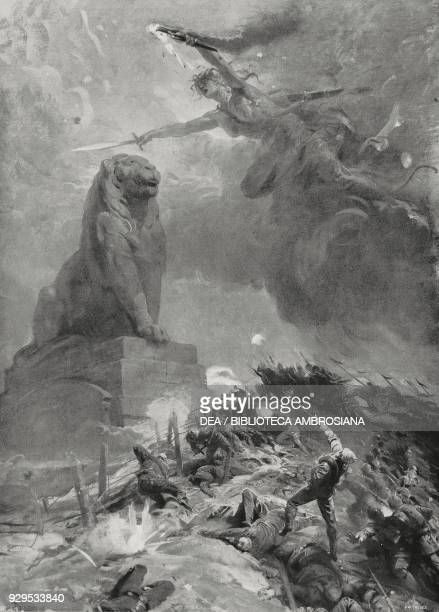 Belgium is heroically withstanding the German first attack World War I allegorical drawing by Lodovico Pogliaghi from L'Illustrazione Italiana Year...