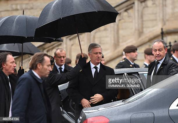 Belgium King Philippe arrives to the funeral of late Queen Fabiola of Belgium at the Saint Michael and Saint Gudula Cathedral in Brussels on December...