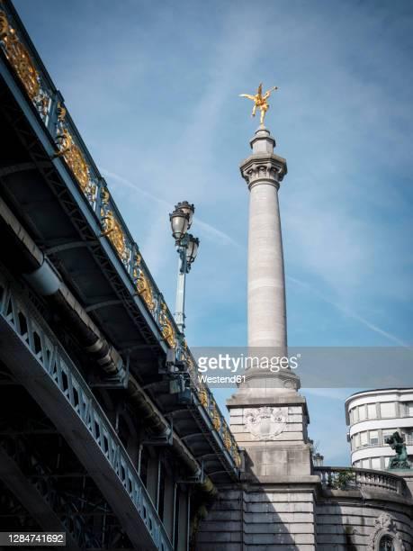 belgium, liege province, liege, angel column of pont de fragnee bridge - liege stock pictures, royalty-free photos & images