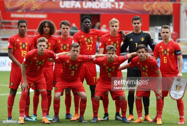 Belgium line up against Italy during the UEFA European Under17 Championship Semi Final match between Italy and Belgium at the New York Stadium on May...