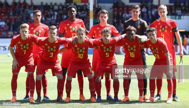 Belgium line up agaoinst Spain during the UEFA European Under17 Championship Quarter Final match between Belgium and Spain at on May 14 2018 in...
