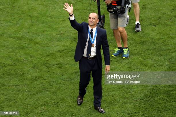 Belgium manager Roberto Martinez applauds the fans after the final whistle during the FIFA World Cup third place playoff match at Saint Petersburg...