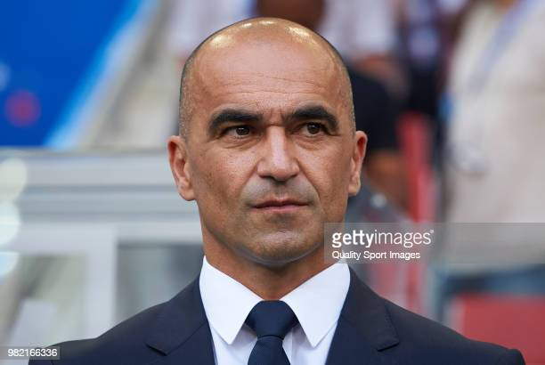 Belgium manager Roberto Martinez looks on prior the 2018 FIFA World Cup Russia group G match between Belgium and Tunisia at Spartak Stadium on June...