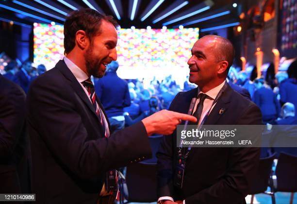Belgium Manager Roberto Martinez speaks with England Manager Gareth Southgate during the UEFA Nations League Draw at Beur van Berlage on March 03,...